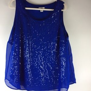 Cato plus size sequin blue tank